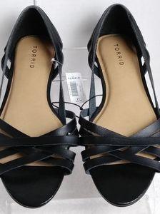 Torrid Flat Strappy Peep Toe Dorsay Sandals